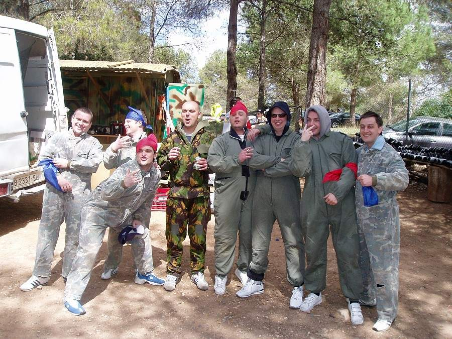 group of men playing paintball